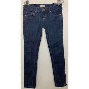 Free People Dark Wash Ankle Zip Skinny Jeans